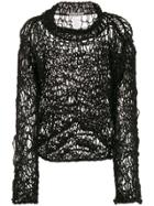 Issey Miyake Pre-owned 1990s Open Knit Jumper - Black