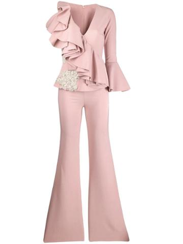 Loulou One-shoulder Ruffle Jumpsuit - Pink
