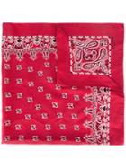 Saint Laurent Bandana Scarf, Women's, Red, Silk