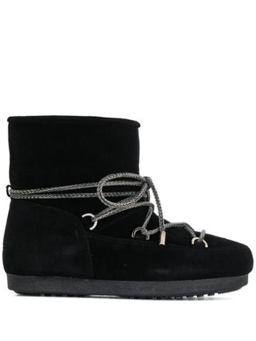 Moon Boot Lace-up Ankle Boots - Black