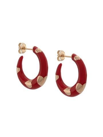 Alison Lou 14kt Yellow Gold Petite Armour Heart Hoops - Red