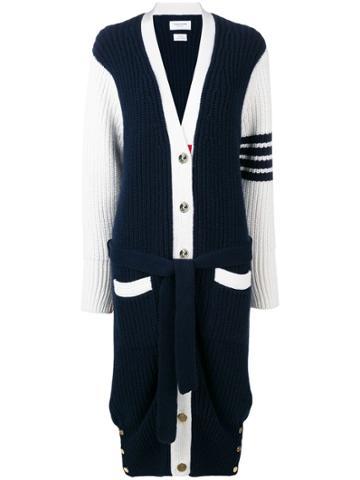 Thom Browne 4-bar Long V-neck Cardigan Coat - Blue