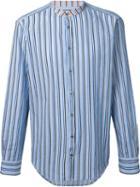 Msgm Striped Band Collar Shirt