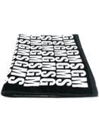 Msgm Branded Beach Towel - Black