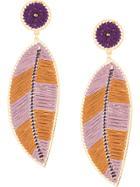 Mercedes Salazar Paramo Leaf Earrings - Pink & Purple