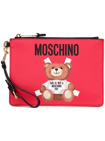 Moschino Toy Bear Paper Cut Out Clutch, Women's, Black, Leather