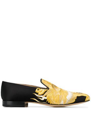 Versace Dragon Print Satin Loafers - Black