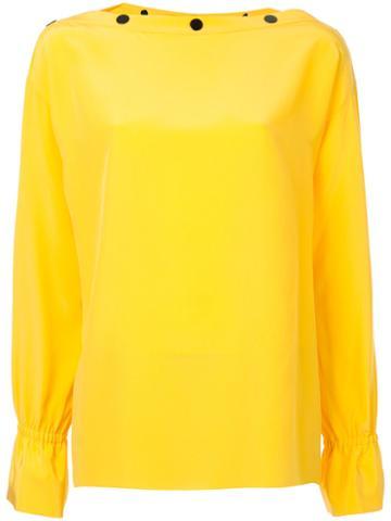 Emilio Pucci - Button Slash Neck Blouse - Women - Silk - 46, Yellow/orange, Silk