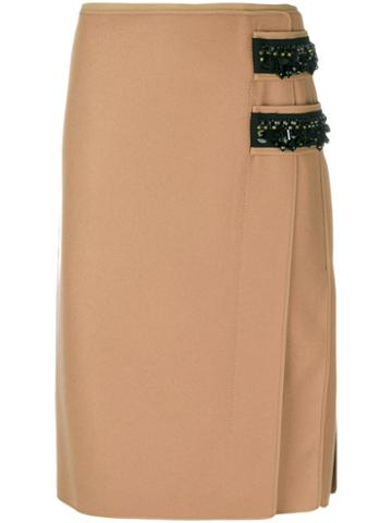 No21 - Contrast Embellished Pencil Skirt - Women - Polyester/cashmere/wool/glass - 44, Brown, Polyester/cashmere/wool/glass