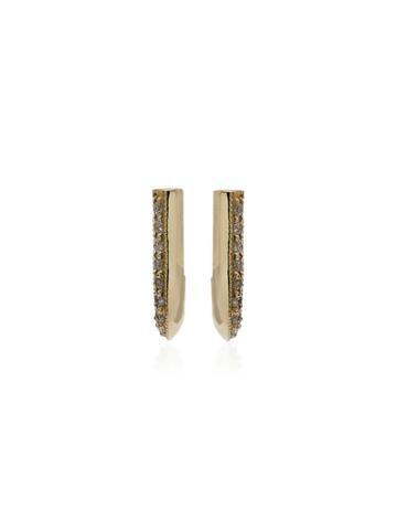 Lizzie Mandler Fine Jewelry Pave Diamonds Knife Edge Earrings - Gold
