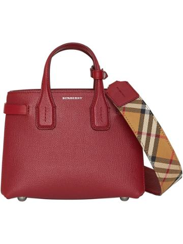 Burberry The Baby Banner In Leather And Vintage Check - Red