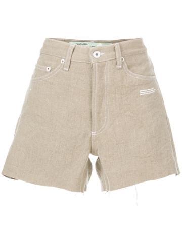 Off-white Cut-off Denim Shorts - Nude & Neutrals