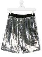 Msgm Kids Teen Sequined Shorts - Grey