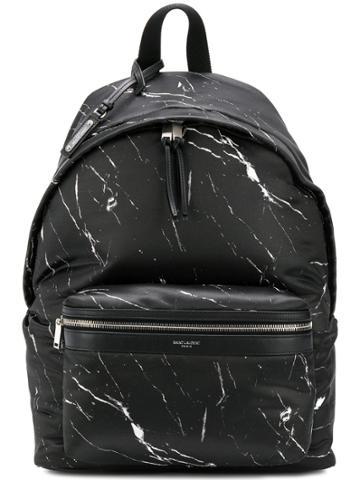 Saint Laurent Marble Print Backpack - Black