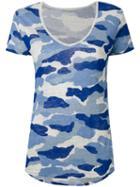 Majestic Filatures - Camouflage T-shirt - Women - Linen/flax - 4, Blue, Linen/flax