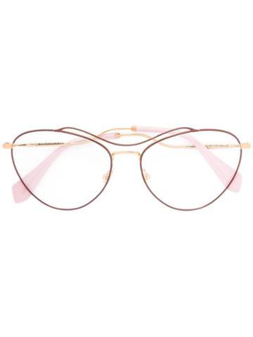 Miu Miu Eyewear Oversized Frames, Pink/purple, Acetate/metal