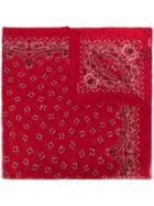 Saint Laurent Paisley Print Bandana Square Scarf - Red