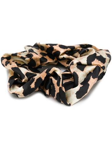 Ganni Leopard Scrunchy - Brown