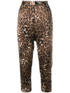 Nili Lotan Leopard Print Cropped Trousers - Brown