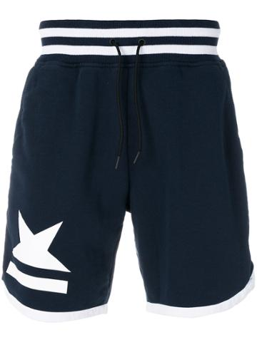 Hydrogen Striped Track Shorts - Blue