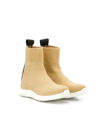 Roberto Cavalli Junior Teen Knit Ankle Boots - Gold