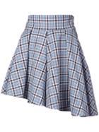 Petersyn - Checked Asymmetric Mini Skirt - Women - Cotton - S, Blue, Cotton