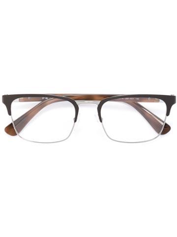 Prada Eyewear Square Glasses, Brown, Acetate/metal