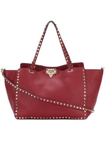 Valentino - Valentino Garavani Rockstud Rolling Trapeze Tote - Women - Calf Leather - One Size, Red, Calf Leather