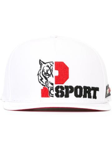 Plein Sport Tiger Embroidered Cap, Men's, White, Cotton