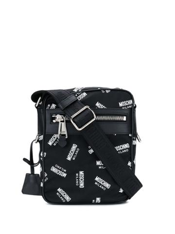 Moschino Monogram Messenger Bag - Black