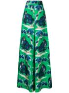 Gucci Cat Print Flared Trousers - Green