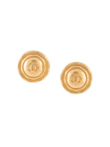 Chanel Pre-owned Cc Round Earrings - Gold