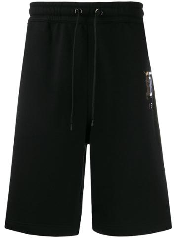 Burberry Embroidered Logo Track Shorts - Black
