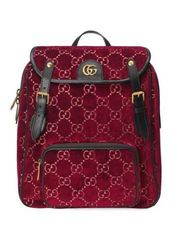 Gucci Small Gg Velvet Backpack - Red