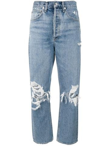 Agolde Distressed Mom Jeans - Blue