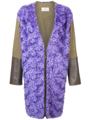 Maison Margiela Front Wool Coat - Pink & Purple