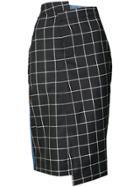 Monse Plaid Pencil Skirt - Blue