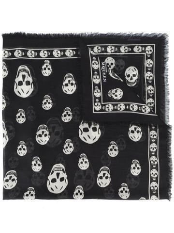 Alexander Mcqueen - Skull Print Scarf - Men - Modal/silk - One Size, Black, Modal/silk