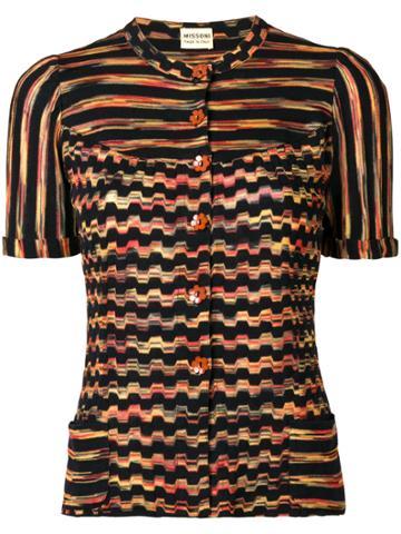 Missoni Vintage Patterned Stripe Knitted Top - Black