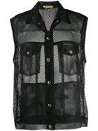 Versace Jeans Mesh Panelled Vest Jacket - Black