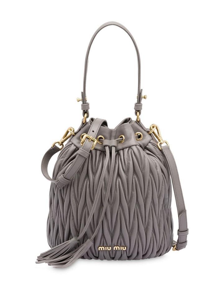 Miu Miu Matelassé Drawstring Bucket Bag - Grey