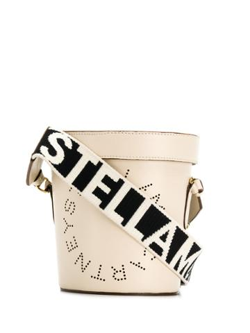 Stella Mccartney Perforated Logo Bucket Bag - White