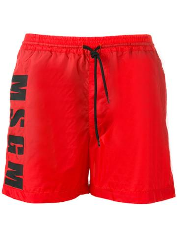 Msgm Swim Shorts, Men's, Size: 46, Red, Polyamide