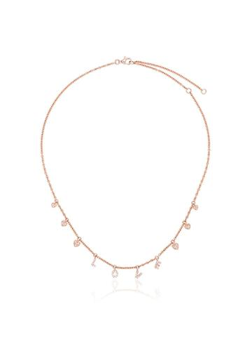Shay 18kt Rose Gold And Diamond Love Dangle Drop Heart Necklace -