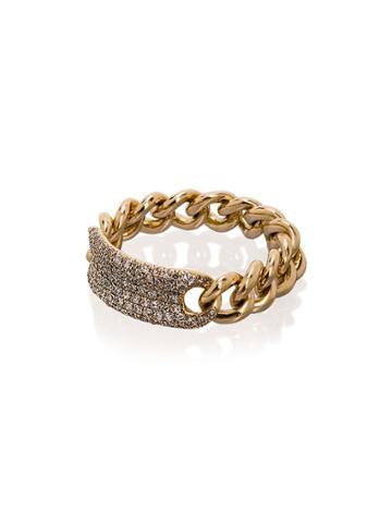 Shay 18k Yellow Gold Pave Diamond Link Ring - Metallic