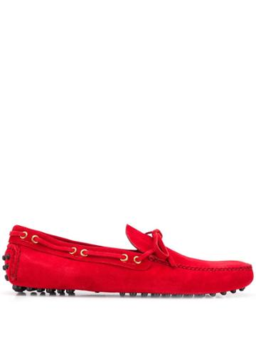 Car Shoe Logo Boat Shoes - Red