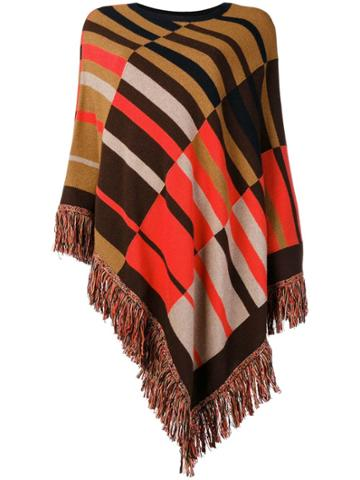 Etro Patterned Knitted Poncho - Brown