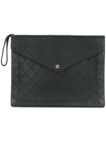 Chanel Vintage Diamond Quilt Flat Clutch - Black