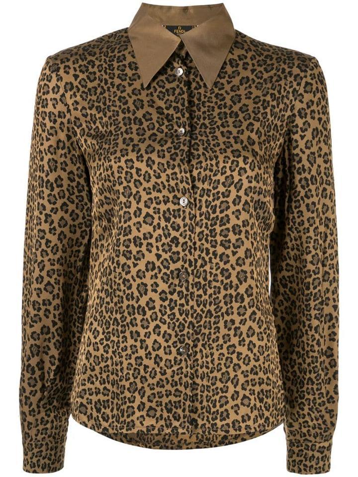 Fendi Pre-owned Leopard Print Shirt - Brown