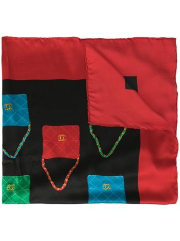 Chanel Pre-owned Silk Bag Print Scarf - Black
